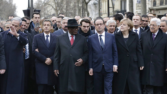 World leaders march in Paris on January 11. A 'show of force'? Nothing more than lip service (Photo: AFP)