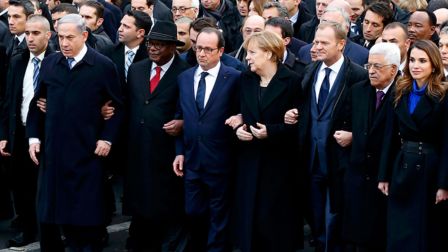 Abbas at the rally in Paris - meters from Netanyahu. (Photo: Reuters) (Photo: Reuters)