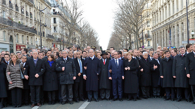 World leaders march in Paris. Most of these heads of states don't uphold in their countries the same values they came to save (Photo: Haim Zach, GPO)