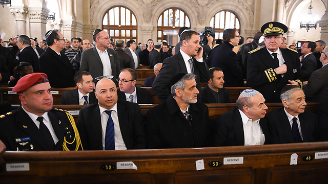Former Shas MK Eli Yishai at the Paris memorial (Photo: Israel Bardugo)