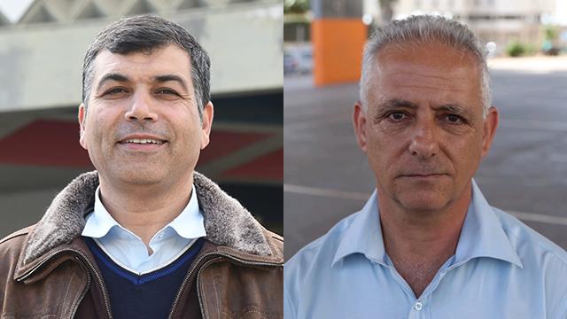 המועמדים לראשות העיר. אלי יריב (מימין) ויוסי בכר (צילום: מוטי קמחי, יאיר שגיא) (צילום: מוטי קמחי, יאיר שגיא)