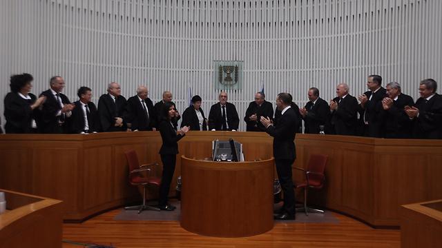 Justice Miriam Naor replacing Asher Grunis as Supreme Court President (Photo: Gil Yohanan)
