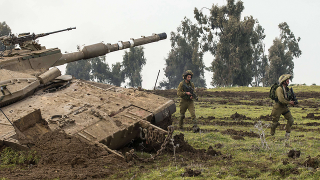Golani soldiers during training exercise in the Golan Heights (Archive: AFP)