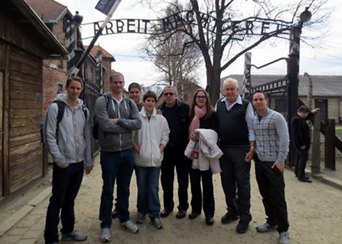 Naftali with his family at Auschwitz
