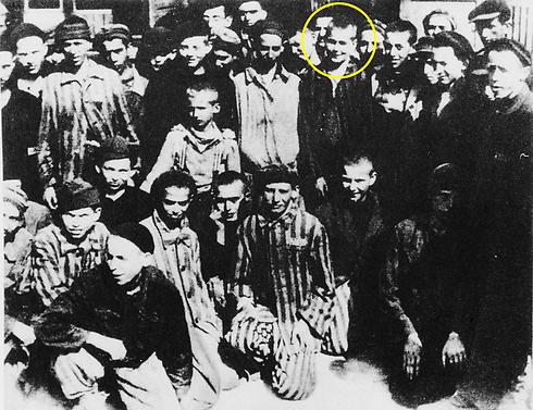 Naftali Furst, circled, at the liberation of Buchenwald.