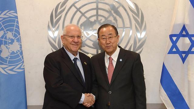 Rivlin meeting with UN chief Ban (Photo: Mark Neiman, GPO)