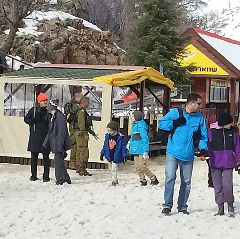 Visitors being evacuated from the Hermon ski site (Photo courtesy of Hermon ski site)