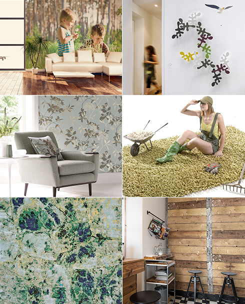 מימין ובכיוון השעון: קישוטי קיר של דומיסיל, שטיח ירוק של צמר שטיחים יפים, טפט עץ של מעודד צבעים, שטיח אביבי של צמר שטיחים יפים, טפט פרחוני של מעודד צבעים והדפס טבע של א.א. מראות (צילום: א.א מראות, דומיסיל, מעודד צבעים, צמר שטיחים יפים) (צילום: א.א מראות, דומיסיל, מעודד צבעים, צמר שטיחים יפים)