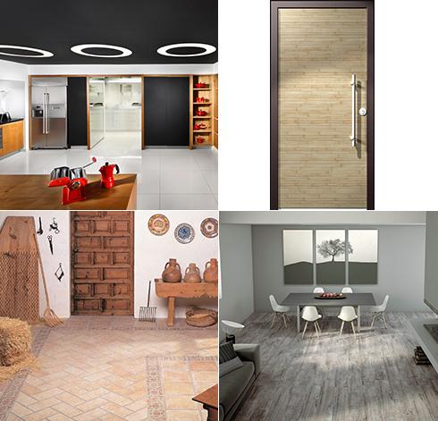 """עיצוב בעץ לקראת ט""""ו בשבט. מימין ובכיוון השעון: דלת של רשפים, אריחים של חרש, מטבח של דקור וחלל מעוצב של Hezi Bank ()"""