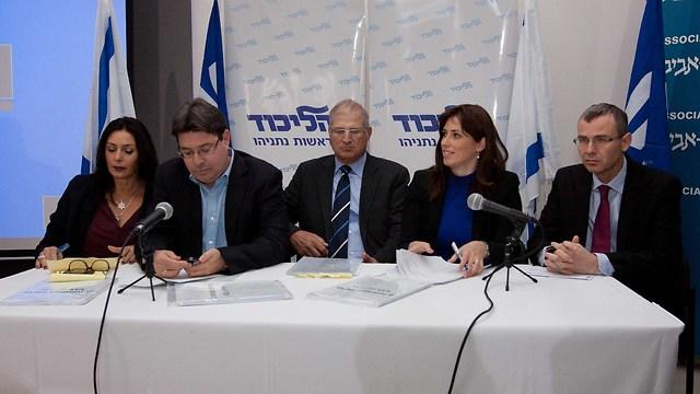 Likud members accuse V15 at a press conference this week. 'Likud did a great PR job for us,' says Itamar Weizman. (Photo: Ido Erez) (Photo: Ido Erez)