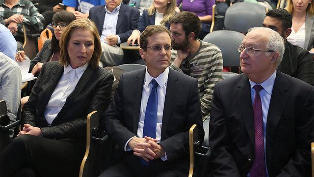 טרכטנברג, הרצוג ולבני במסיבת העיתונאים (צילום: מוטי קמחי) (צילום: מוטי קמחי)