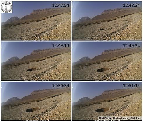 מול המצלמה. כך נפער הבולען (צילום: המכון הגיאולוגי) (צילום: המכון הגיאולוגי)