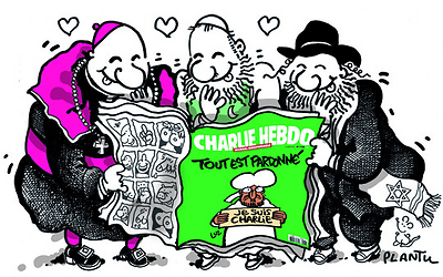 Plantu's take on the post-attack edition of Charlie Hebdo