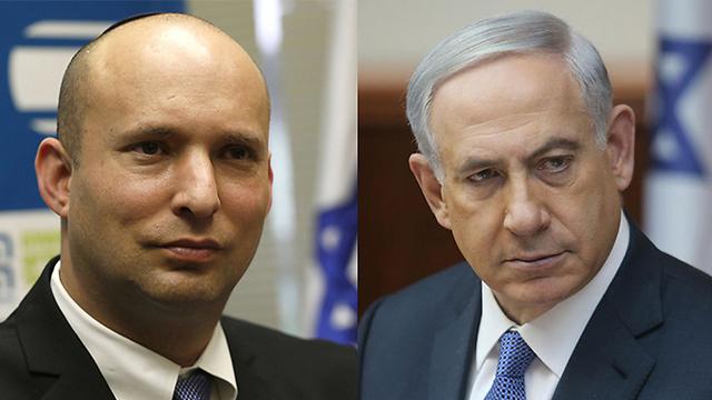(L) Naftali Bennett / (R) Benjamin Netanyahu (Photo: Alex Kulmoyski / AFP)
