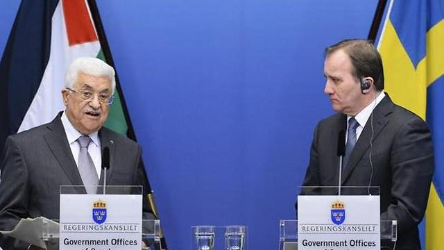 Abbas and Prime Minister of Sweden Stefan Loefven hold joint press conference in Stockholm (Photo: AFP) (Photo: AFP)