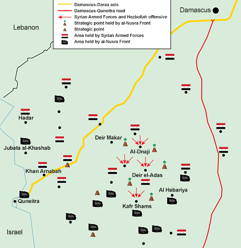 Map depicting Syrian army's offensive