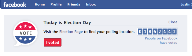 I Voted button and counter showing how many US Facebook users reported voting