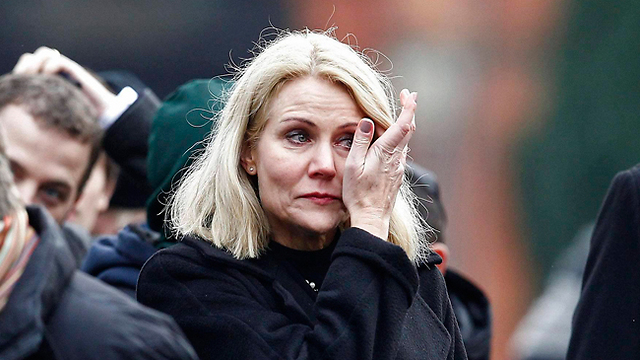 Danish Prime Minister Helle Thorning-Schmidt at Jewish guard's funeral (Photo: Reuters)
