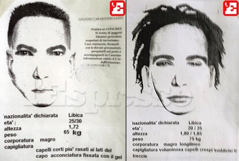 קלסתרוני חשודים איסלאמיסטים מלוב שאחריהם מתנהל מצוד ברומא, כפי שפורסמו במגזין l'Espresso ()