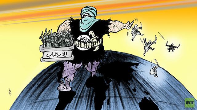 קריקטורה מצרית: דאעש מפזר טרוריסטים ברחבי תבל ()