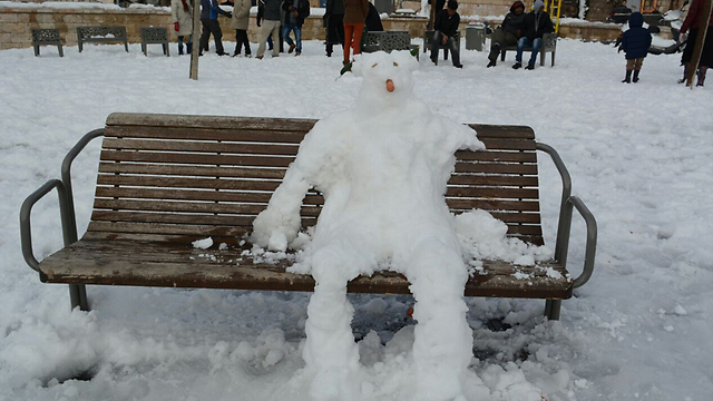 A snow man in Jerusalem. (Photo: George Ginsburg)