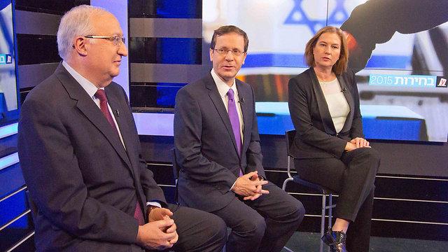 From left: Trajtenberg, Herzog and Livni in the Ynet studio. (Photo: Ido Erez) (Photo: Ido Erez)