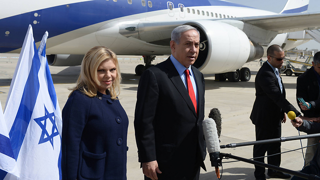Benjamin and Sara Netanyahu prepare to leave for the US. (Photo: Amos Ben Gershom, GPO) (Photo: Amos Ben Gershom, GPO)
