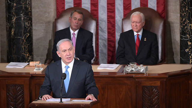 Photo: AFP (Netanyahu speaking before Congress (Photo: AFP))