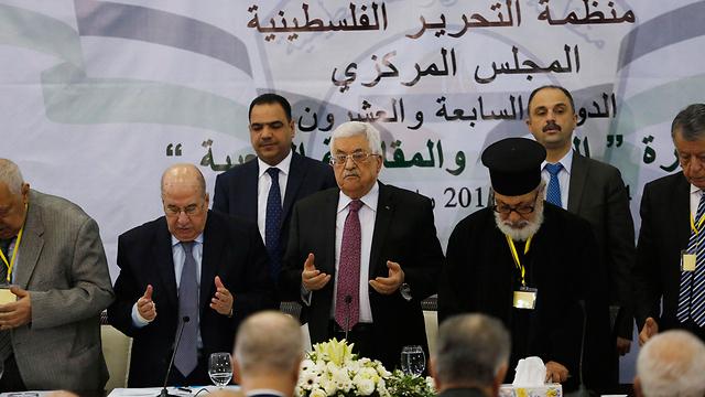 Senior Palestinian leadership at Muqata (Photo: Reuters)