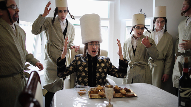 Celebrating Purim in a London Haredi community (Photo: Getty Images)