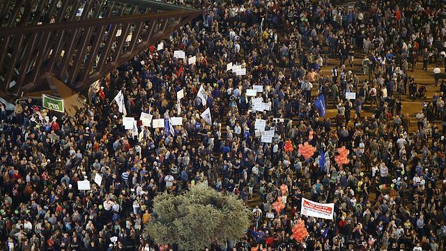 העצרת אמש בתל אביב (צילום: AFP) (צילום: AFP)