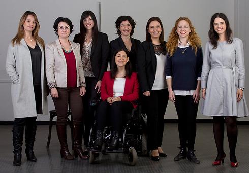 From left to right: Yifat Sassa-Biton, Hanin Zoabi, Shira Mistriel, Karin Elharar (in red), Tamar Zandberg, Gila Gamliel, Stav Shafir, Ayaelet Shaked (Photo: Avigail Uzi)