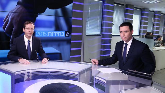 Herzog says he is only alternative to Netanyahu at Ynet studio interview. (Photo: Ofer Amram)
