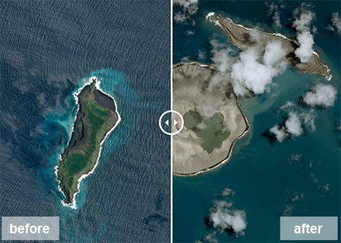 לפני ואחרי ההתפרצות הגעשית ()