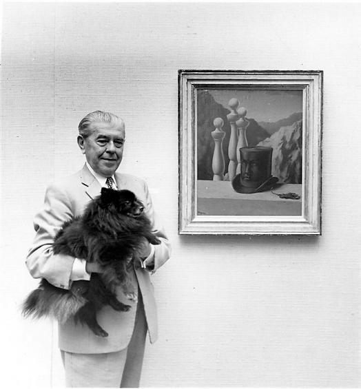 הצייר רנה מגריט וכלבו, 1966 (  )