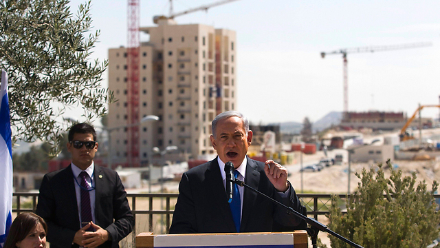Netanyahu speaking in Har Homa last week (Photo: Reuters)