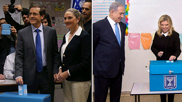 Herzog and wife Michal vote in Tel Aviv / Netanyahu and wife Sara vote in Jerusalem (Photo: Motti Kimchi, Marc Israel Salem)