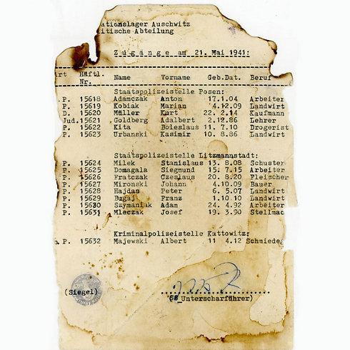 רשימת האסירים שנמצאה בספרייה בלודג'                   ()