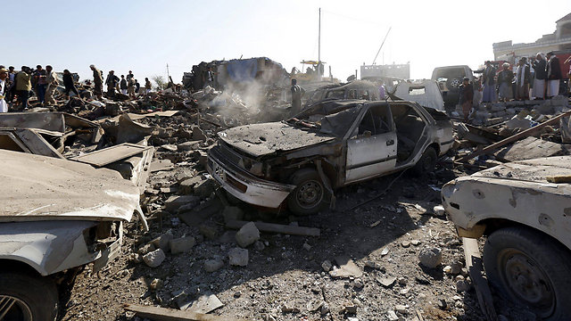Rubble in Yemen following Saudi strike (Photo: EPA)