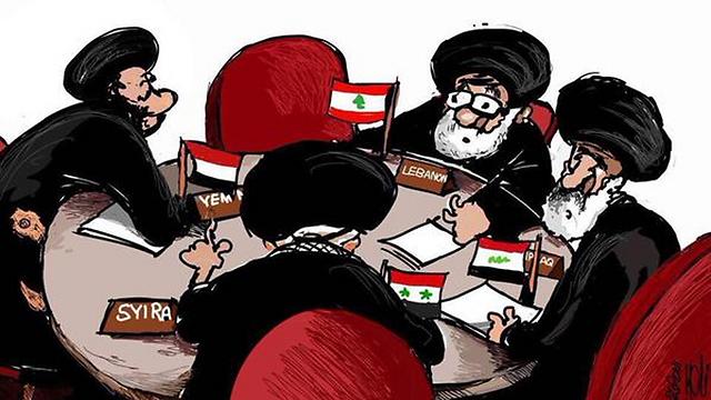 קריקטורה ערבית: נציגים איראנים במושביהן של עיראק, לבנון, תימן וסוריה בפסגת הליגה הערבית הבאה ()