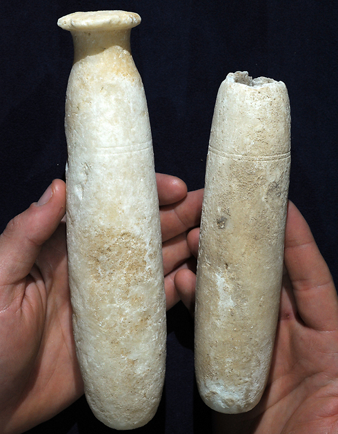 Alabaster bottles that were discovered in the cave (Photo: Clara Amit, IAA)