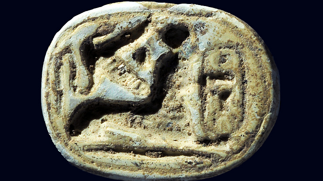 A scarab seal of the Egyptian pharaoh Thutmose III. A sphinx is crouching near the pharaoh's name (Photo: Clara Amit, IAA)