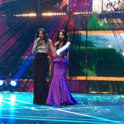 Conchita Wurst and Dana International at Eurovision's 60th anniversary celebration
