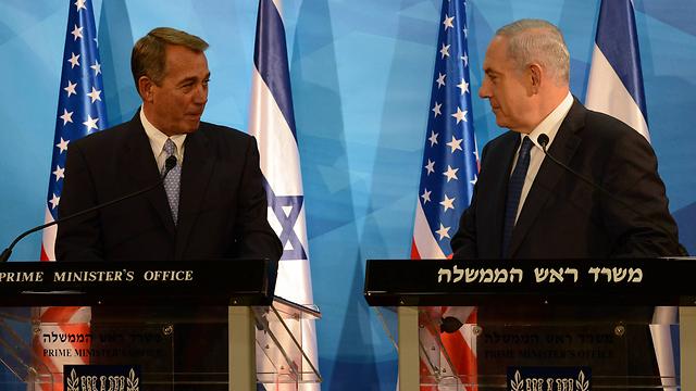 Netanyahu with House Speaker John Boehner, who visited Israel this week (Photo: Haim Zach, GPO)