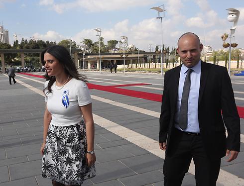 Bayit Yehudi MKs Ayelet Shaked and Naftali Bennett (Photo: Gil Yohanan)