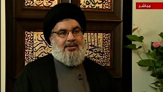 Hassan Nasrallah gives an interview to Syrian television (Photo: AFP/AL-IKHBARIYA)