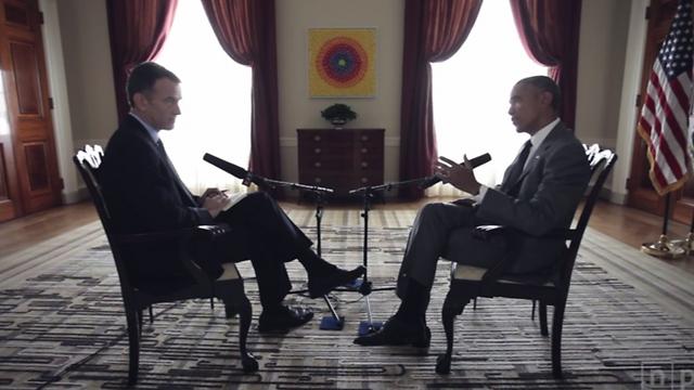 Barack Obama talking to NPR