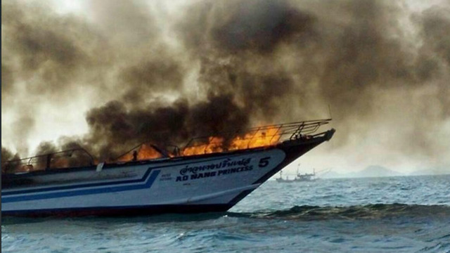 Fire on ferry in Thailand.