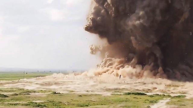 Explosion destroys area of the site (Photo: EPA)
