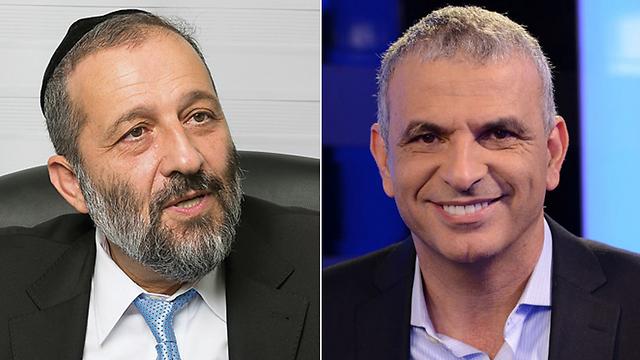 Shas leader Aryeh Deri (L) and Kahlon (R) (Photo: Yonatan Blum / Yaron Brenner)